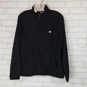 Adidas black windbreaker jacket size L